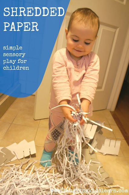 Shredded paper makes a great sensory experience for toddlers. Laughing Kids Learn