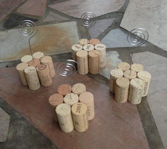 Set of 4 Wine Cork Table Number Holders Great by KrystlesWeddings, $14.00