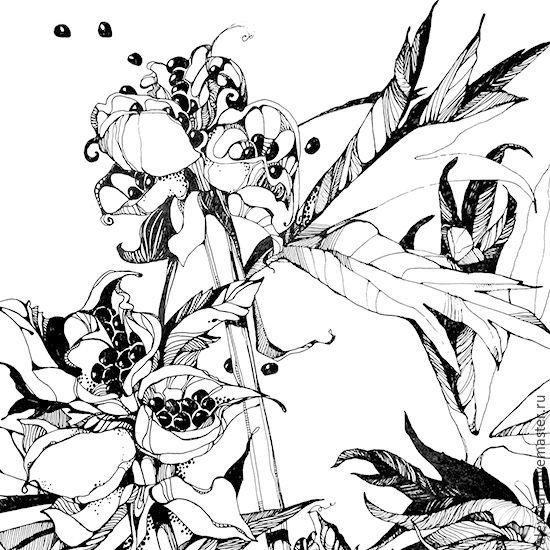 """Купить картина """"Марьин корень"""" - чёрно-белый, марьин корень, цветы, графика, художник мартынова"""