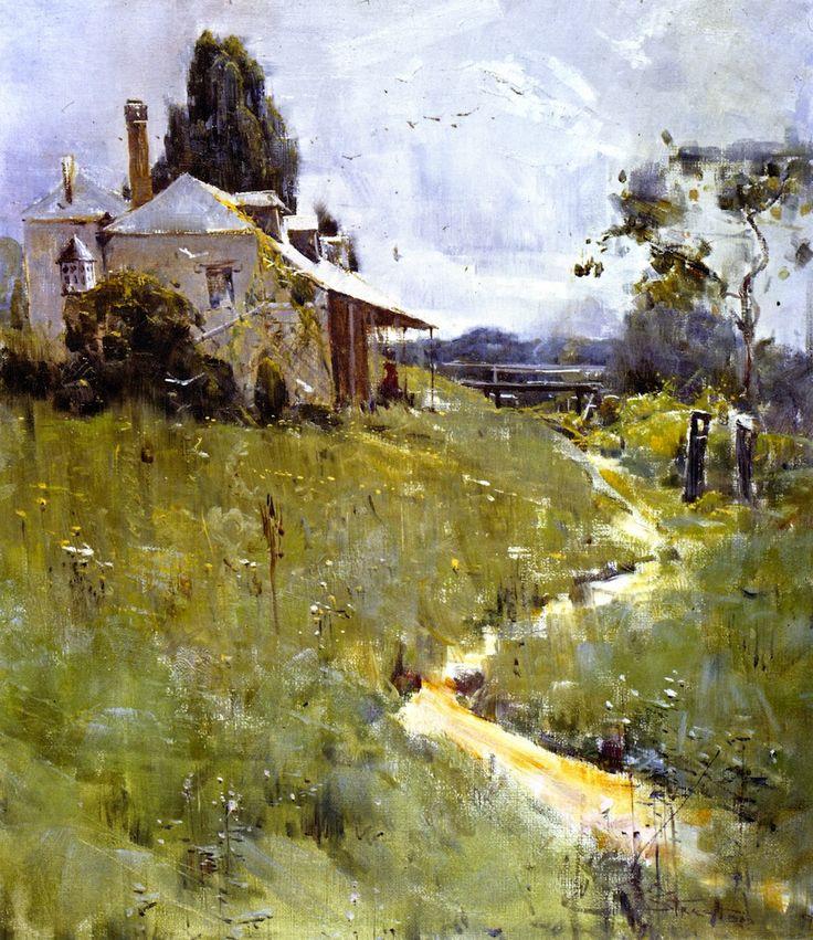 "Arthur Streeton - Australian (1867 - 1943), landscape painter and leading member of the Heidelberg School, also known as Australian Impressionism, ""Traveller's Rest"" (1896)"