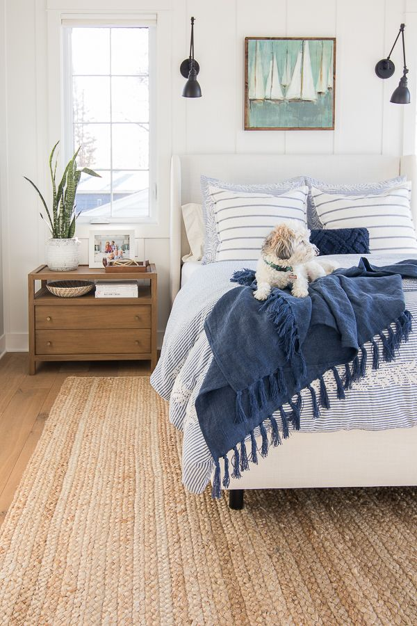 Blue Lake House Master Bedroom, Luxury Lake House Bedding