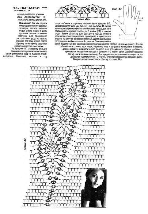 """Вязаный крючком рисунок """"Ананас"""": 110. Вязаные перчатки с ананасовым рисунком"""