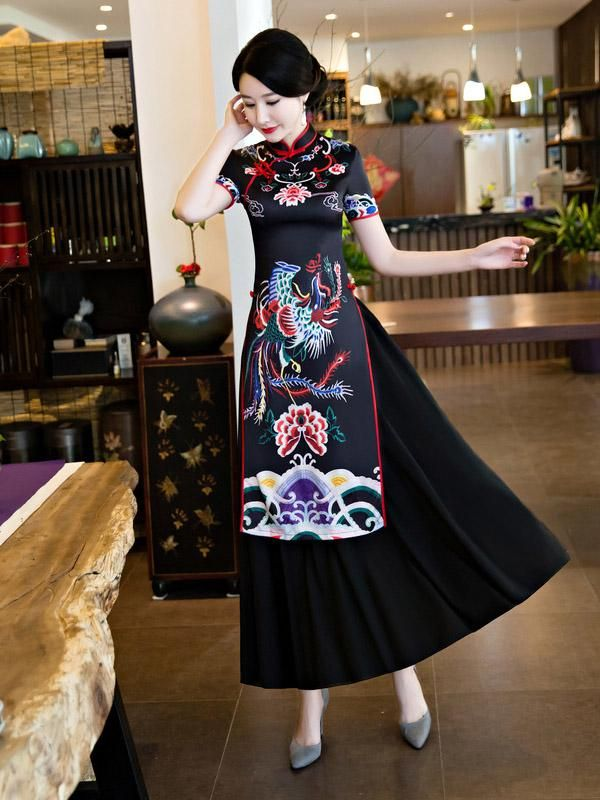 Size M Black and Gold Floral Ao Dai w//Pants Vietnamese Ao Dai 4XL