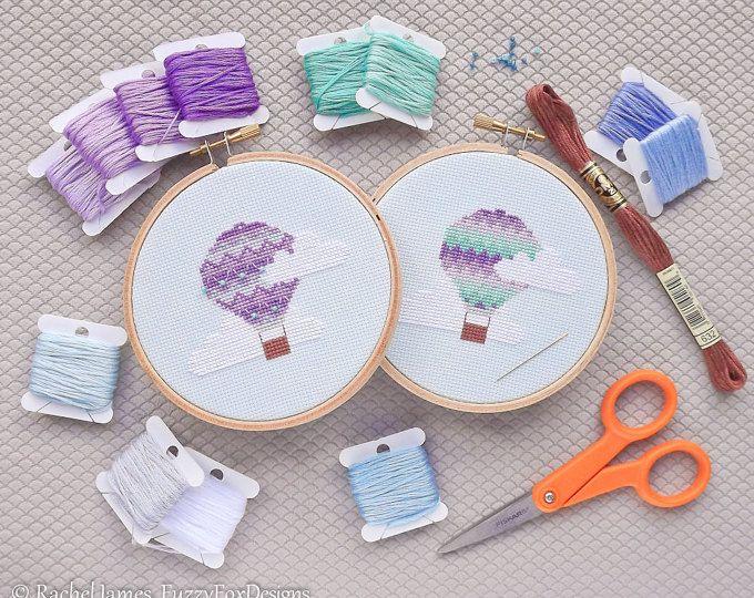 30 Pretty Purple and Aqua Hot Air Balloons Easy Beginners Cross Stitch Pattern PDF