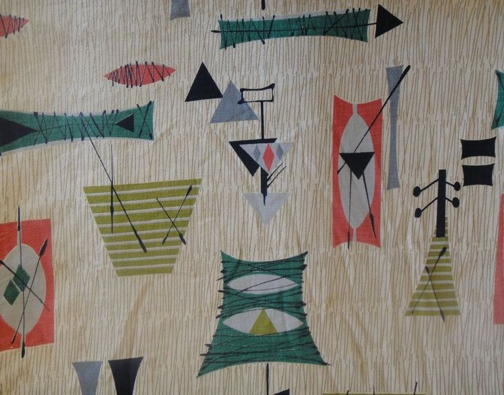 Vintage 50s Abstract Barkcloth Fabric Mid Century Modern
