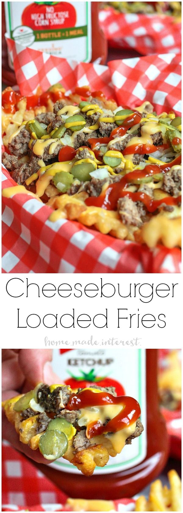 Loaded Cheeseburger Fries   These french fries are loaded with everything it takes to make a great cheeseburger. Ground beef, onions, pickles, cheese, and of course ketchup and mustard. Loaded Cheeseburger Fries are an awesome appetizer recipe for your next football party or a weeknight meal for the family. This loaded french fry recipe is going to blow your mind! #KetchupWithFrenchs #ad