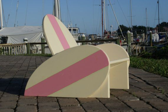 Surfboard chair with pink stripe. Perfect for the playroom to wind down and watch tv.