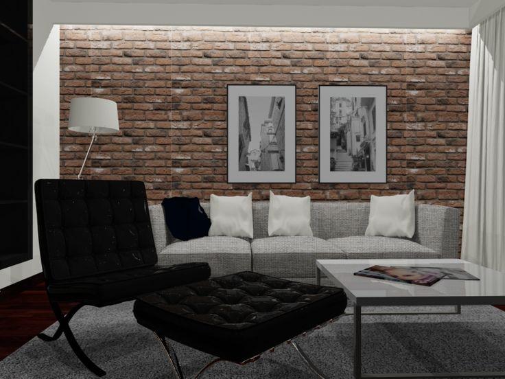 salon, cegły