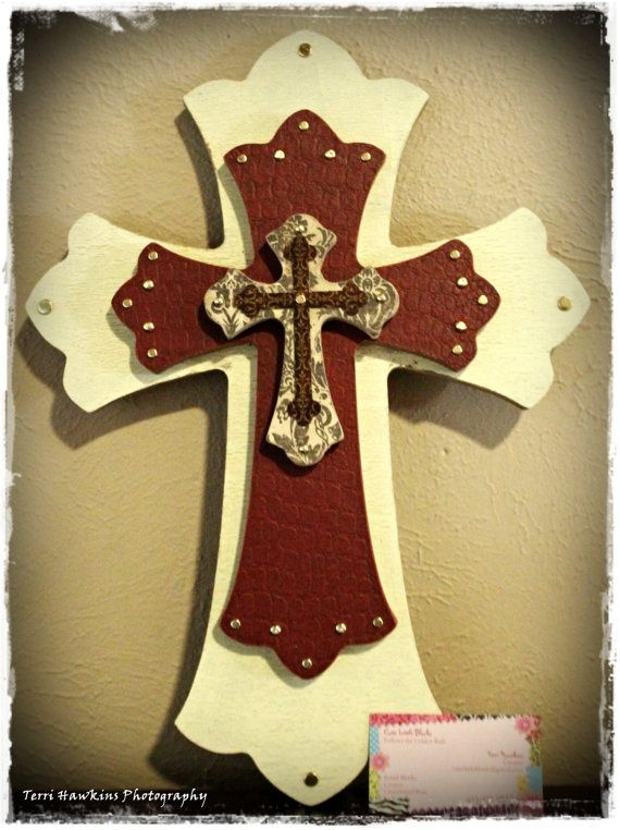 Painted+Wooden+Crosses+Craft+Ideas   yellow crackled painted leather cross