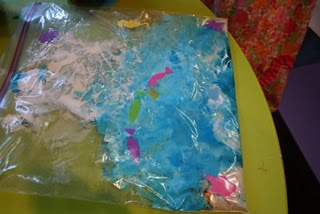 Make an Ocean In A Bag activity, great for a sensory activity. The kids in my class really enjoyed doing this last week. We used blue hair gel for the water, sand and some sea shells.