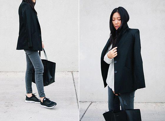 streetfashion simple knit sneakers blazer jeans OTTD
