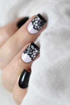 Marine Loves Polish: Nailstorming - Saint Valentin / Lace Nail Art [VIDEO TUTORIAL] - Black lace nails - BM-XL302 - Bundle Monster - Sexy nail art