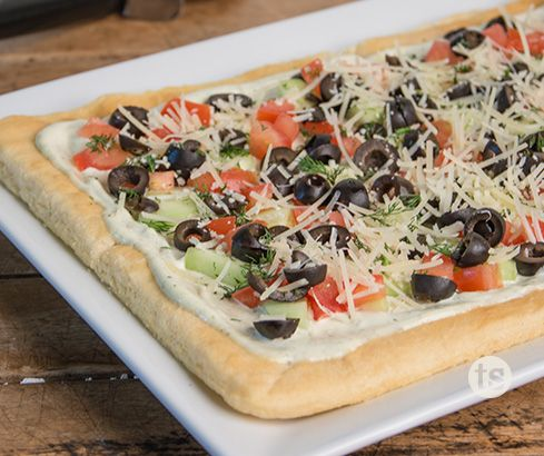 Dill Veggie Pizza Recipe | Fresh veggies top off this veggie pizza. The perfect cool appetizer to serve for a spring or summer get-together.