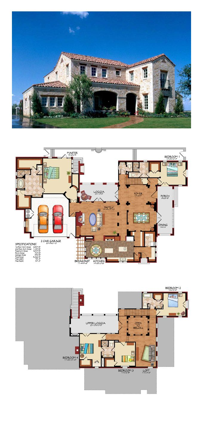 Luxury Home Plan 59506 | Total Living Area: 4047 sq. ft., 5 bedrooms and 4.5 bathrooms. #luxuryhome