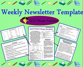 Weekly newsletters keep the parents in the loop about what is going on in the class. This has a free newsletter template that you can use to put your newsletter in.