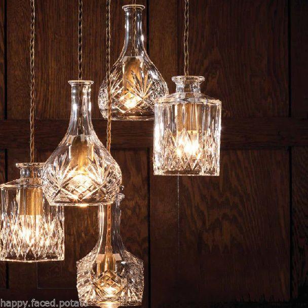 Decanter Wine Perfume Bottle Pendant Light Chandelier Fabric Braided Cord Retro