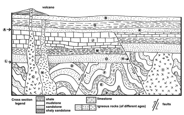 Basic geologic principles: Laws of original horizontality, superposition, and cross-cutting relationships explain the order of this diagram with the order of formation. Oldest to youngest: PEFDILOMJHAKGNBC