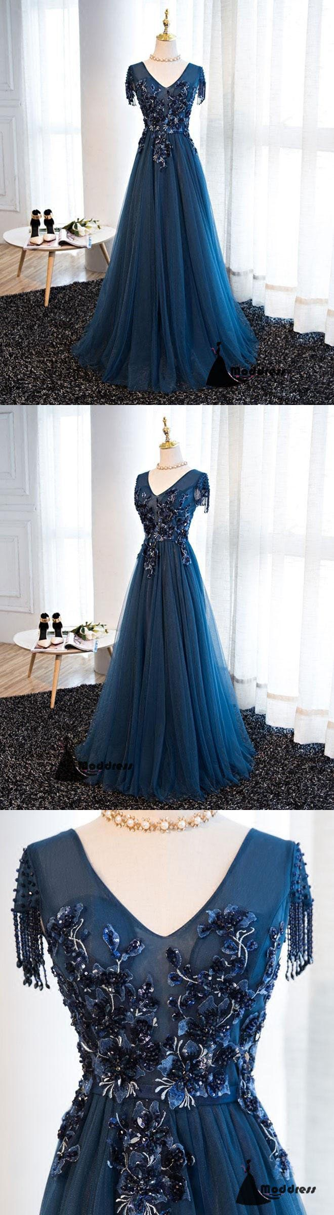 V-Neck Long Prom Dress Beaded A-Line Evening Dress Tulle Formal Dress,HS484  #fashion #shopping #promdresses #eveningdresses #prom #dresses
