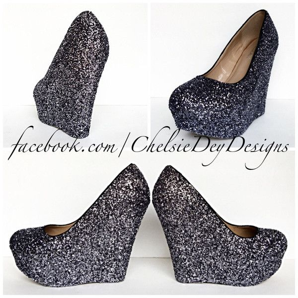 Gunmetal Glitter Wedges Sparkly Charcoal Dark Grey Gray Platform Heel... ($78) ❤ liked on Polyvore featuring shoes, pumps, grey, women's shoes, wedge pumps, platform wedge shoes, platform pumps, grey pumps and glitter pumps