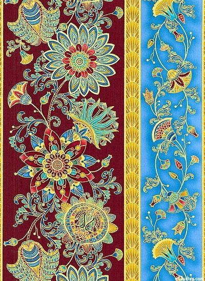 Legacy - Lotus Garden Stripe - Burgundy/Gold