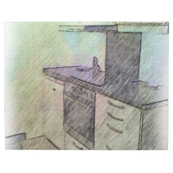 A photo with drawing effect on it of a small kitchen, here you can see an oven, microwave, drawers and cabinets. #kitchen #kitchen-drawing #drawing #oven #microwave #drawers #cabinets #nice-kitchen small-kitchen