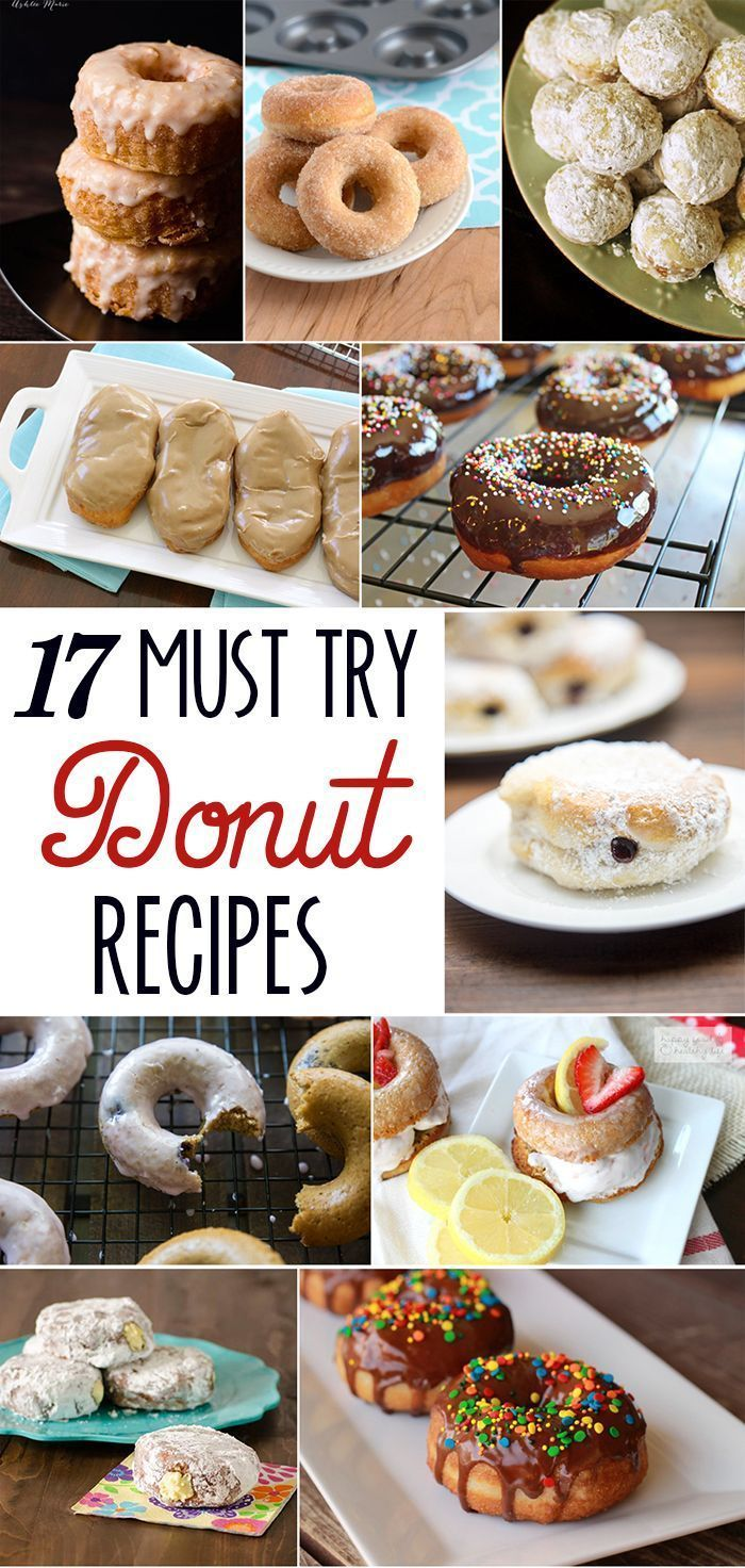 17 must try donut recipes! Maple glazed, cronuts, cinnamon and sugared, baked and fried, donut holes, blueberry, lemon, custared filled and more!
