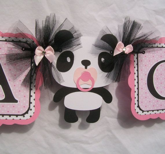 Panda baby shower banner its a girl banner by NancysBannerBoutique