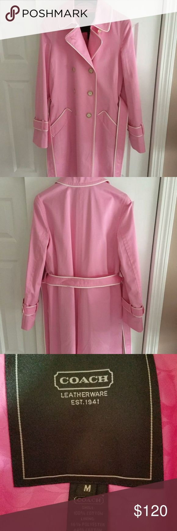Double Breasted Pink Trench Coat Beautiful jacket in excellent condition. Worn once and has been hanging in the closet. Attached are extra buttons. Open to offers. Coach Jackets & Coats Trench Coats