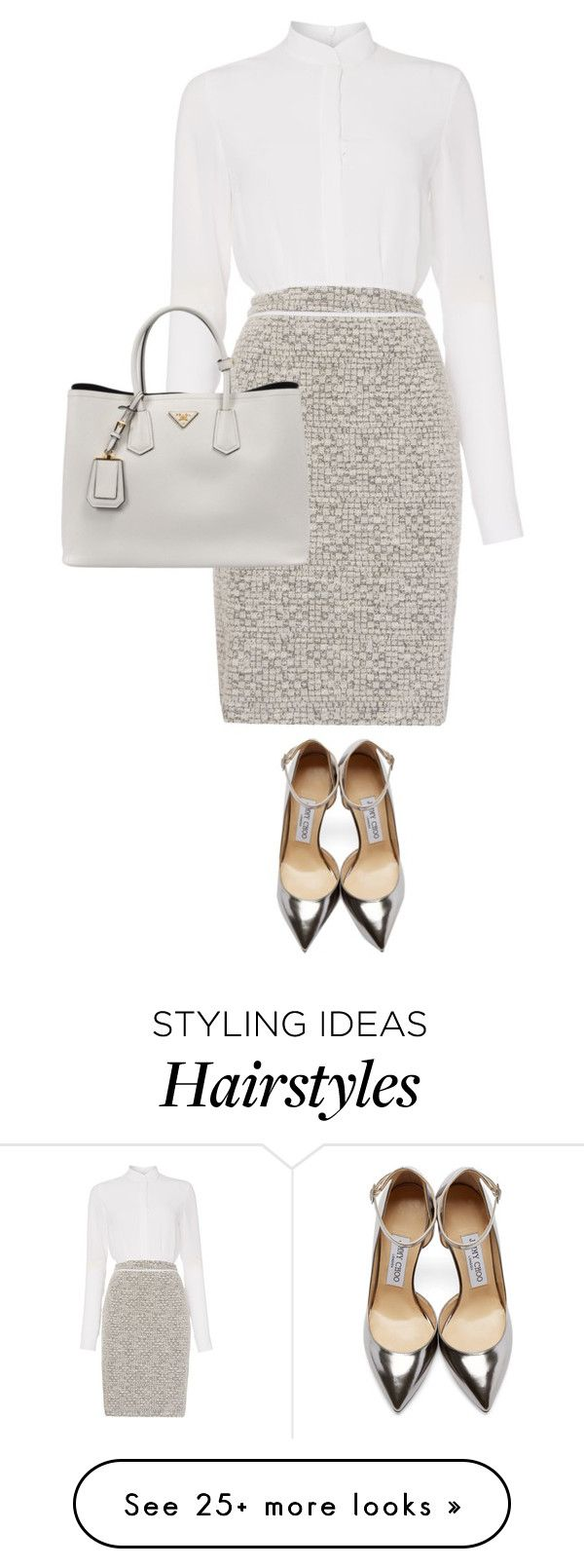 """""""Add hair bun and Clark Kent glasses"""" by bella8 on Polyvore featuring HUGO, Jimmy Choo, Prada, women's clothing, women's fashion, women, female, woman, misses and juniors"""