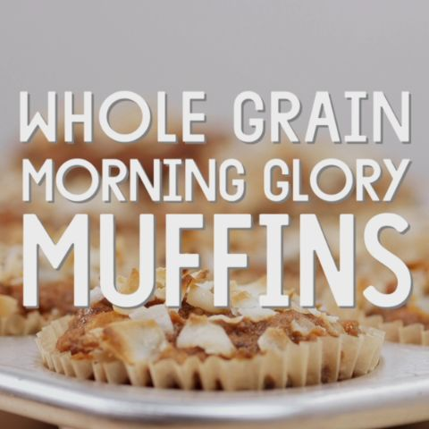 Whole Grain Morning Glory Muffins // Whole wheat pastry flour combines with apples, raisins, carrots, coconut and walnuts in these nutritious and satisfying muffins.