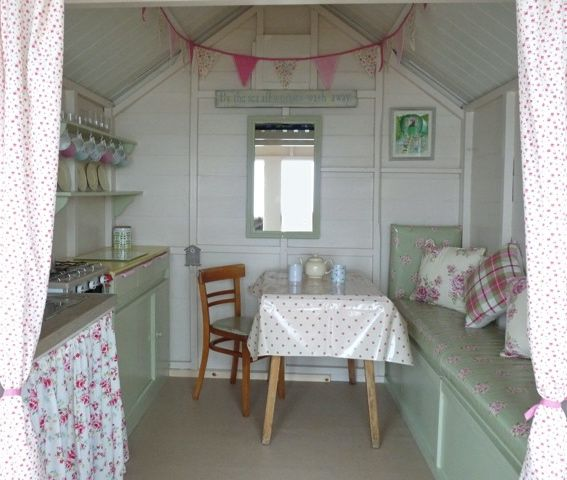 Inside  Eastcliff beach hut.  Small and beautifully formed.