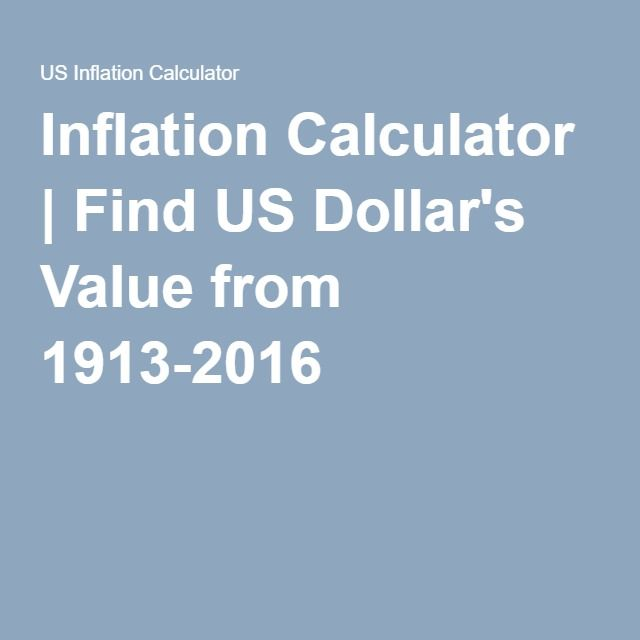 Inflation Calculator | Find US Dollar's Value from 1913-2016