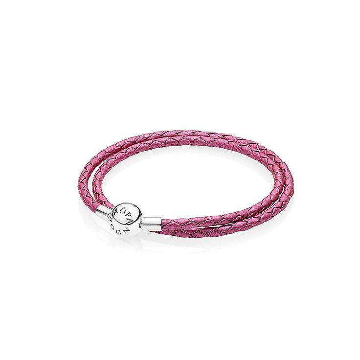 PANDORA Leather Bracelet, Double, Honeysuckle Pink