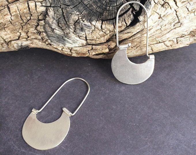 Sterling silver hook earrings - tribal earrings - half moon hoop earrings