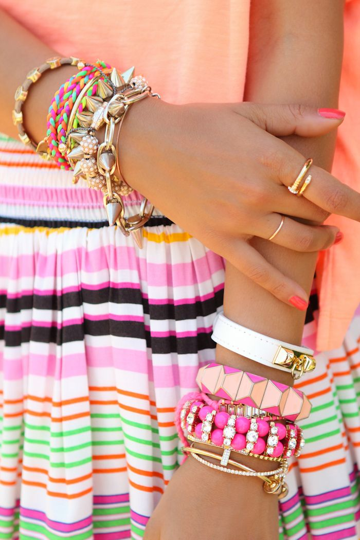 ♥ sherbet colors: Arm Candy, Bright Colour, Gold Bracelets, Jewelry Accessories, Stacking Bracelets, Neon Colors, Summer Colors, Bright Colors, Arm Parties