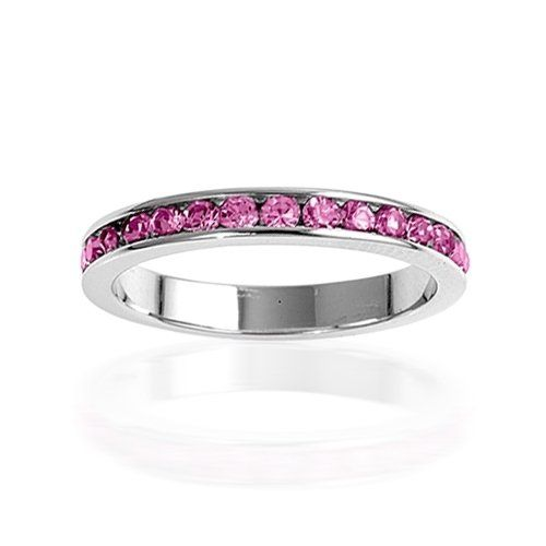 64% Off! Sterling Silver October Birthstone Pink Tourmaline Color CZ Eternity Ring. October Birthstone Stackable Ring. All Birthstones Available. $19.99