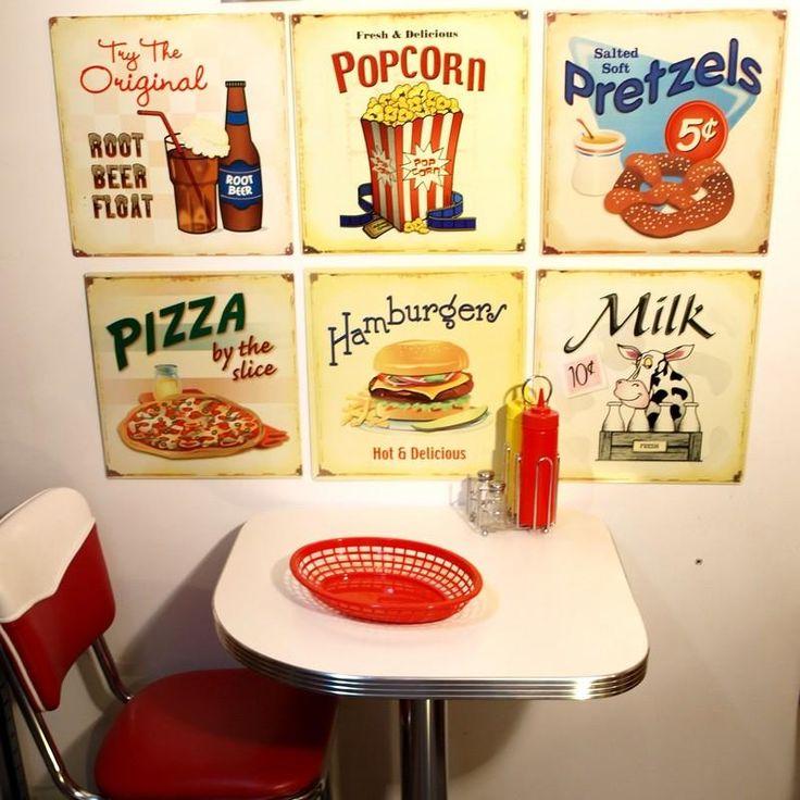 Lot de 6 plaques carrées Beer, Pop Corn, Bretzels, Pizza, Hamburger & Milk, Plus d'infos...