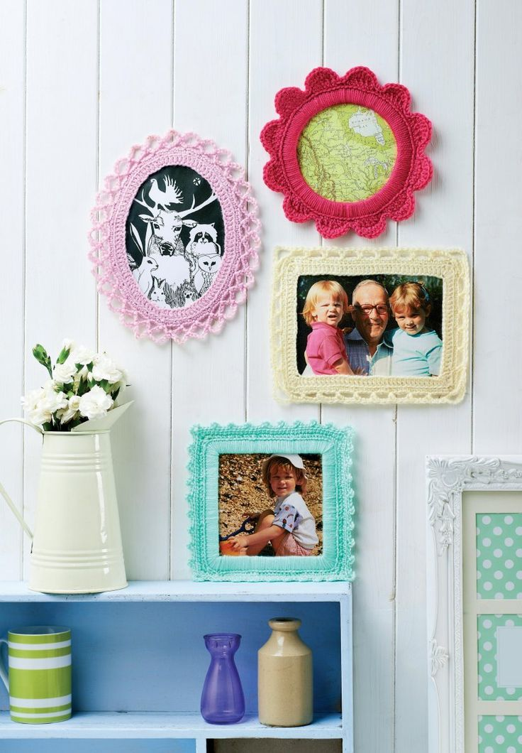 Great idea for brightening up your home. Free pattern for fancy crochet picture frames