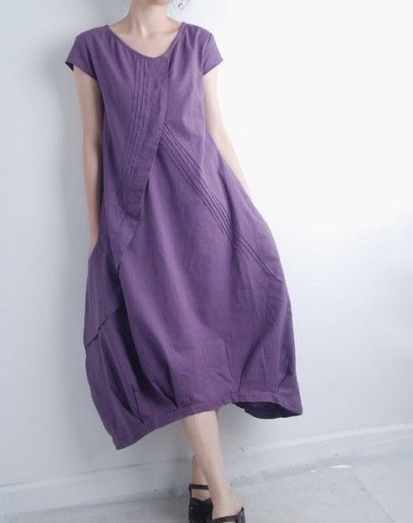 Pleated Asymmetrical linen long dress