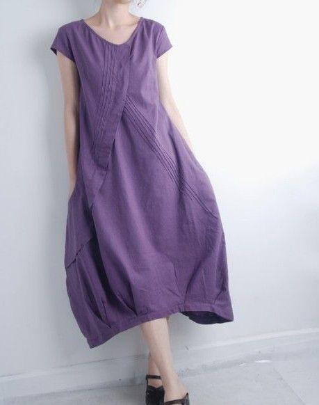 Pleated Asymmetrical linen long dress