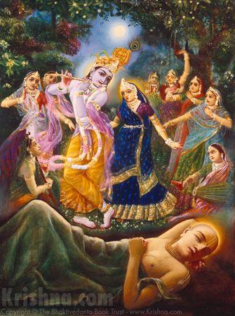 Lord Chaitanya Mahaprabhu dreams of Shri Krishna performing the Maha Raas Leela dance with Radha Rani and the Gopis. ♥