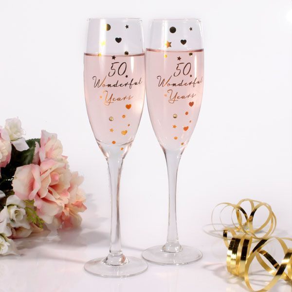 50th anniversary painted glasses | Great Golden Wedding Anniversary Present Ideas from The Gift Gofers
