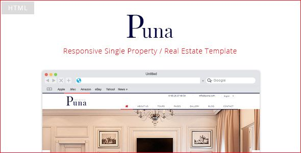 About Puna:Puna template is a fully responsive, Retina ready template for a Real...