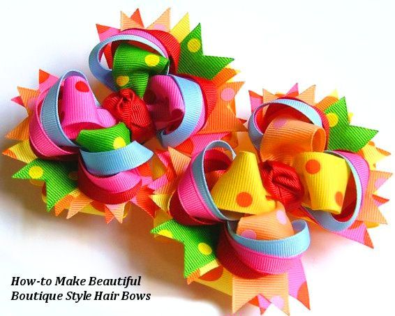 Twisted Layered Boutique Hair Bow Tutorial Instructions / How to Make Hair Bows Instant Download eBook