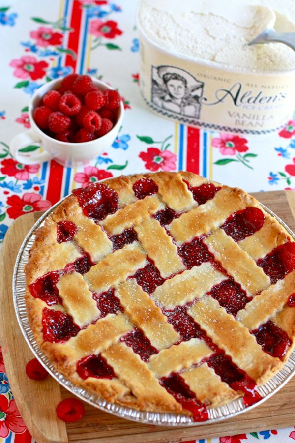 I made this delicious raspberry pie this morning with the fresh raspberries I picked the other day!! So easy and very yummy!!