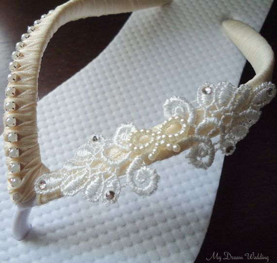 SALE Ivory Flip Flops. BowLace pearls and by MyDreamWedding, $38.69