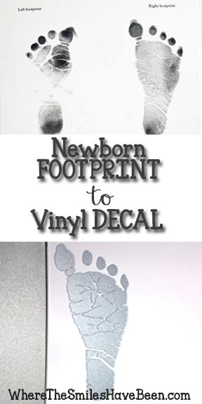 How to trace & cut baby's footprint to create a vinyl decal or stencil. What a great addition to a newborn stats piece of art, a gift to the grandparents, or just an added piece of personalized decor! #footprint