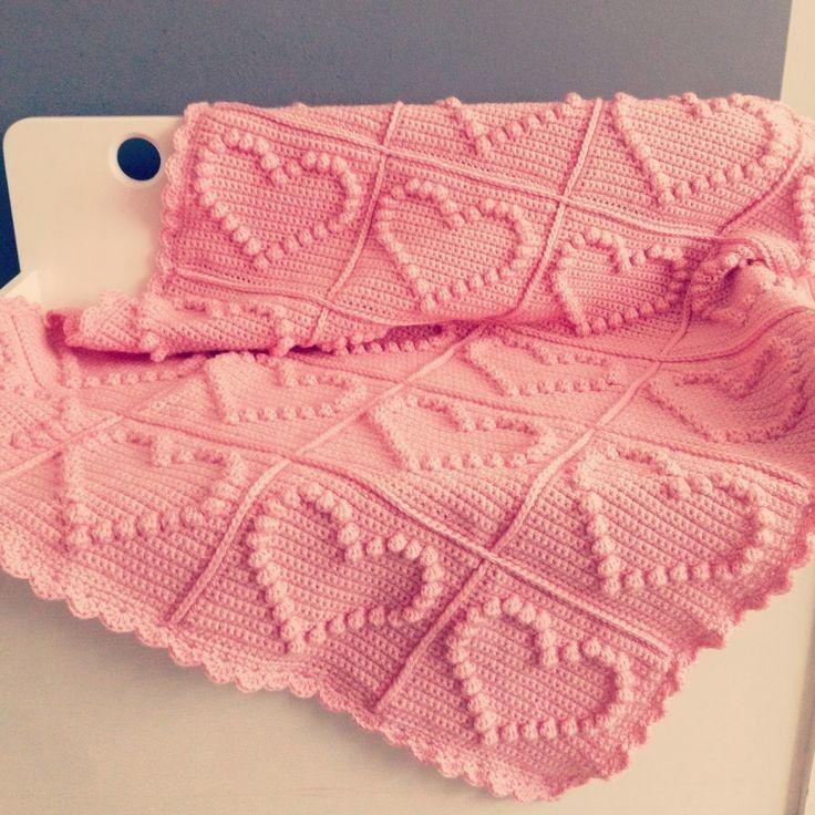 Bobble Heart Crochet Blanket Free Knitting Pattern - Crochet Craft, Pink Blanket