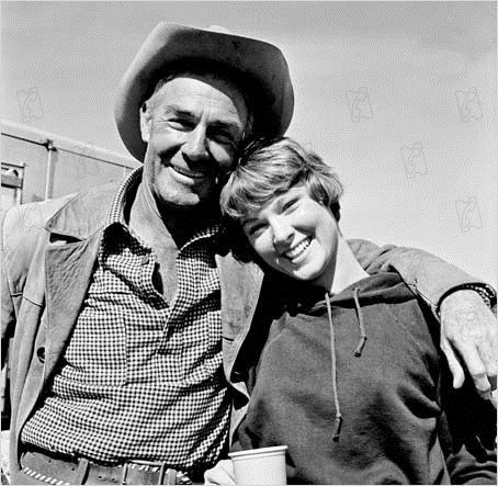 RIDE THE HIGH COUNTRY (1963) - Randolph Scott & Mariette Hartley on location in Colorado - Directed by Sam Peckinpah - MGM - Publicity Still.