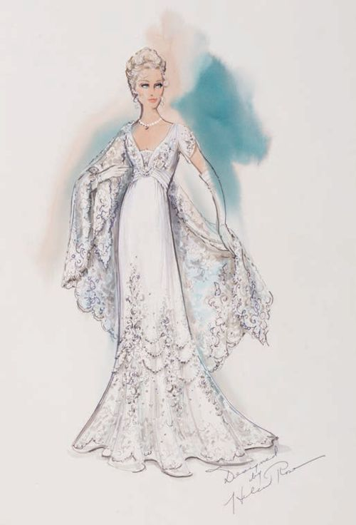 Costume design by Helen Rose for Grace Kelly in The Swan (1956).